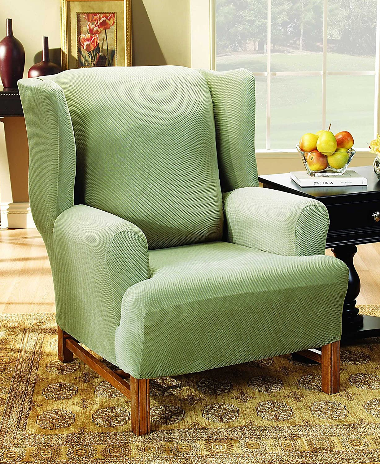 amazoncom sure fit stretch pique knit wing chair slipcover antique sf34441 home u0026 kitchen
