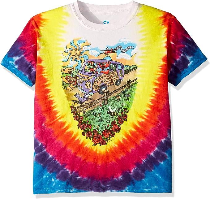 60s 70s Kids Costumes & Clothing Girls & Boys Liquid Blue Boys Big Kids Grateful Dead Summer Tour Bus Short Sleeve T-Shirt $25.26 AT vintagedancer.com