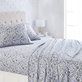 "AmazonBasics Lightweight Super Soft Easy Care Microfiber Sheet Set with 16"" Deep Pockets - Queen, Blue Floral"