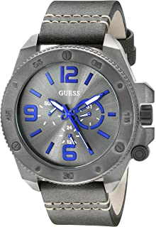 GUESS Mens U0659G3 Fashionable Gunmetal-Tone Stainless Steel Watch with Grey Leather Band