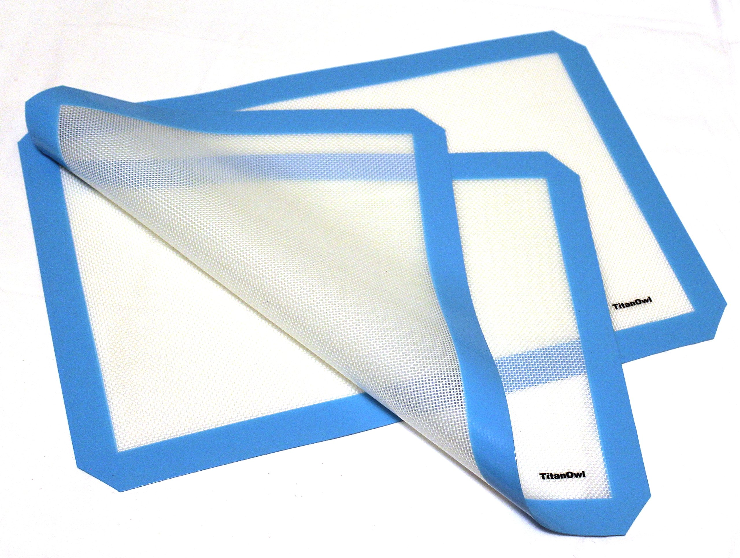 2 x Silicone Mat Platinum Cured Non-Stick Pad 16 1/2 x 11 1/2 inches by TitanOwl - Sheet with blue corners