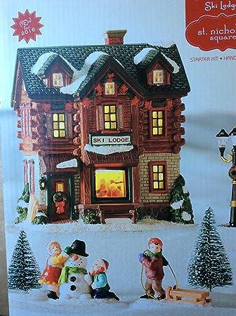 St Nicholas Christmas Village.Amazon Com St Nicholas Village Square Set Of 6 Ski Lodge