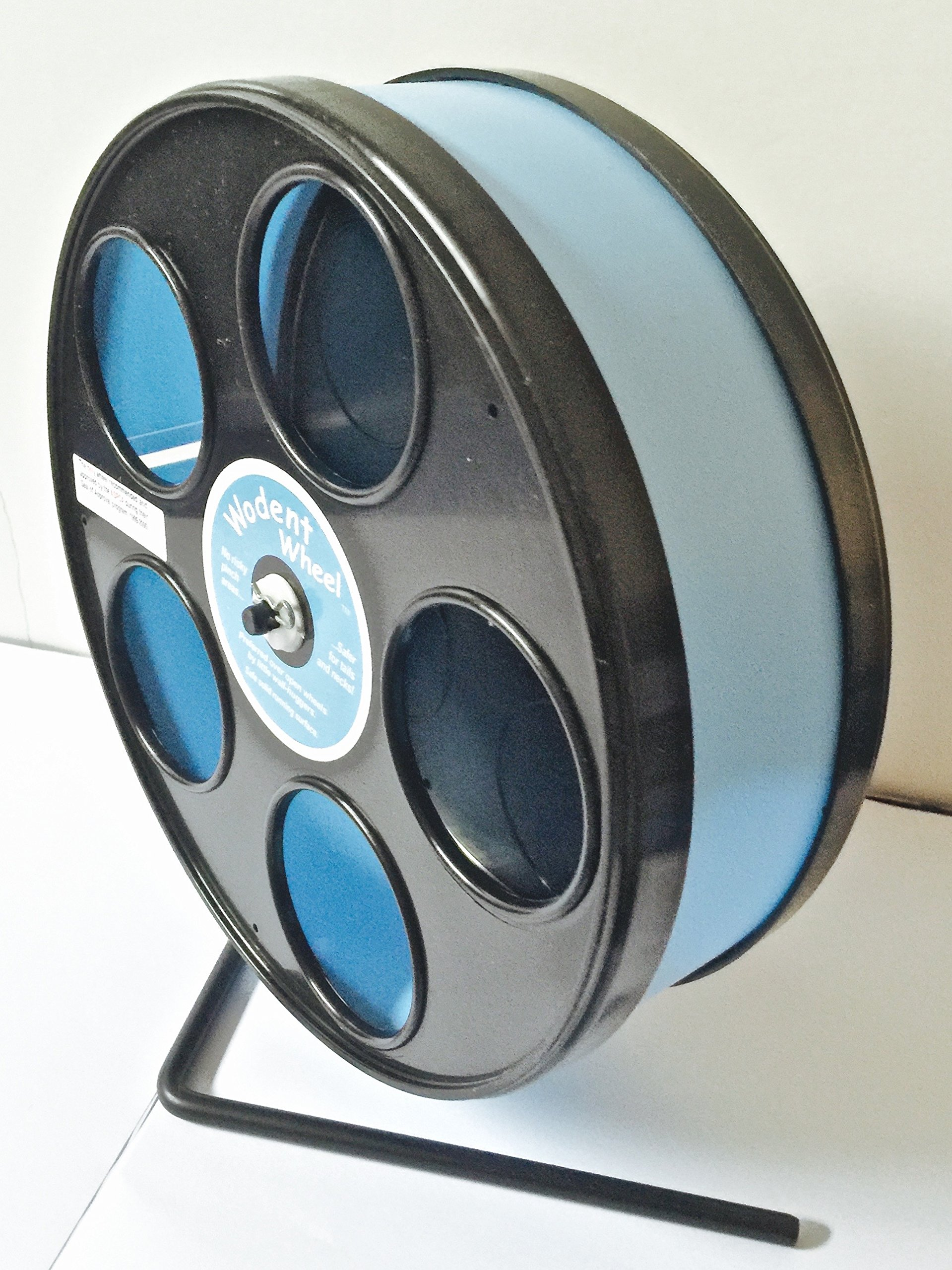 SUGAR GLIDER/HAMSTER 8'' JUNIOR WODENT EXERCISE WHEEL IN LIGHT BLUE WITH BLACK PANELS