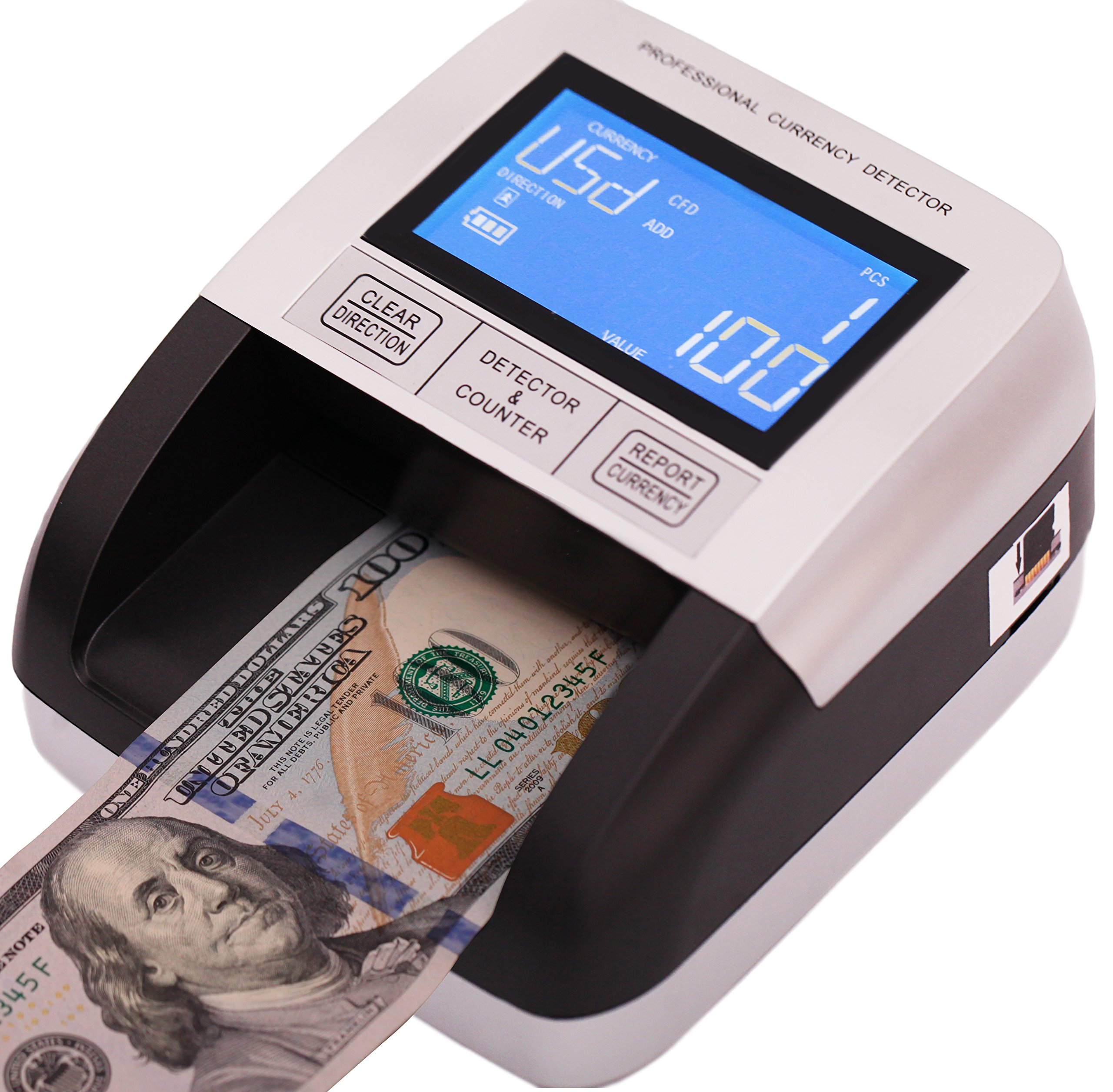 Multi Currency Professional Counterfeit Bill Detector USD EUR CAD MXN 6 Detection Modes with Battery by Eko S
