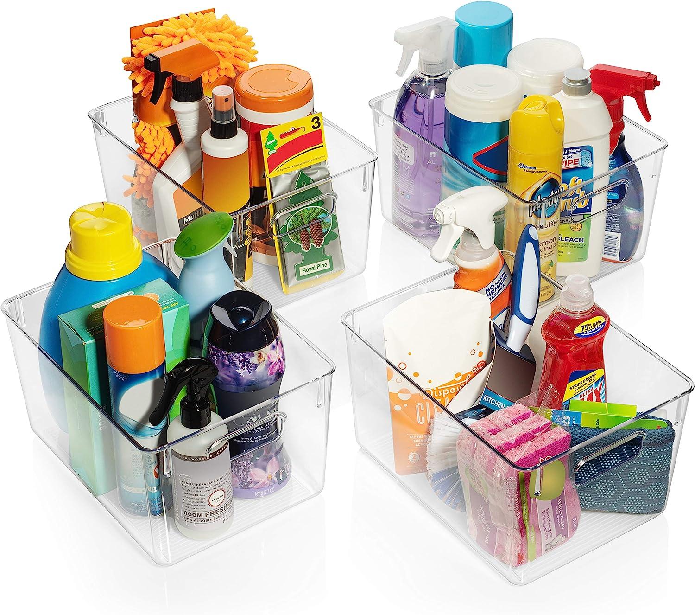 Perfect Kitchen Organization or Pantry Storage Fridge Organizer Cabinet Organizers ClearSpace Plastic Storage Bins Pantry Organization and Storage Bins 4 Pack