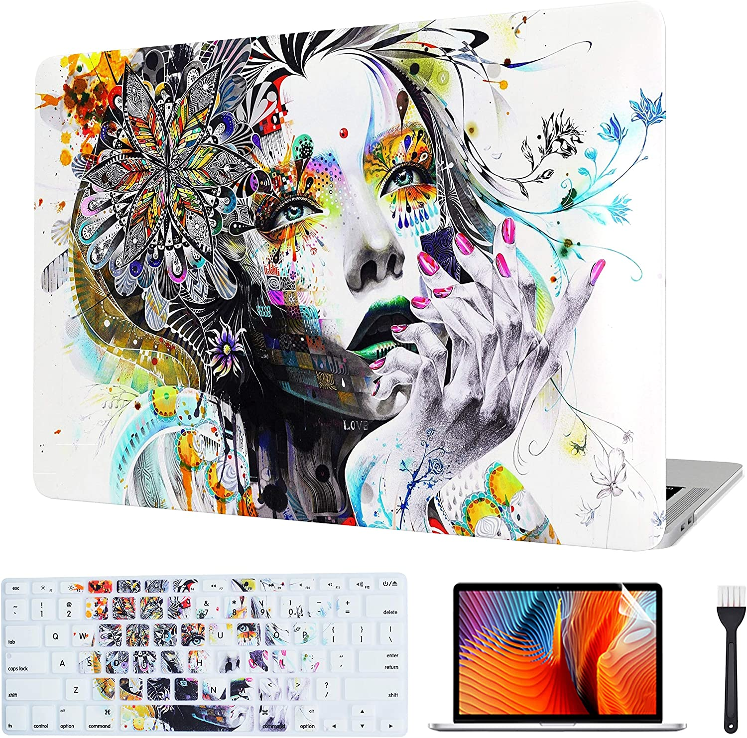 VAESIDA for MacBook Pro 15 Inch Case, Rubberized Protective Hard Laptop Cover Case Shell Set Only Compatible with 2016-2019 Mac Pro 15 with Touch Bar Model: A1707/A1990, Hand-Drawn Girl