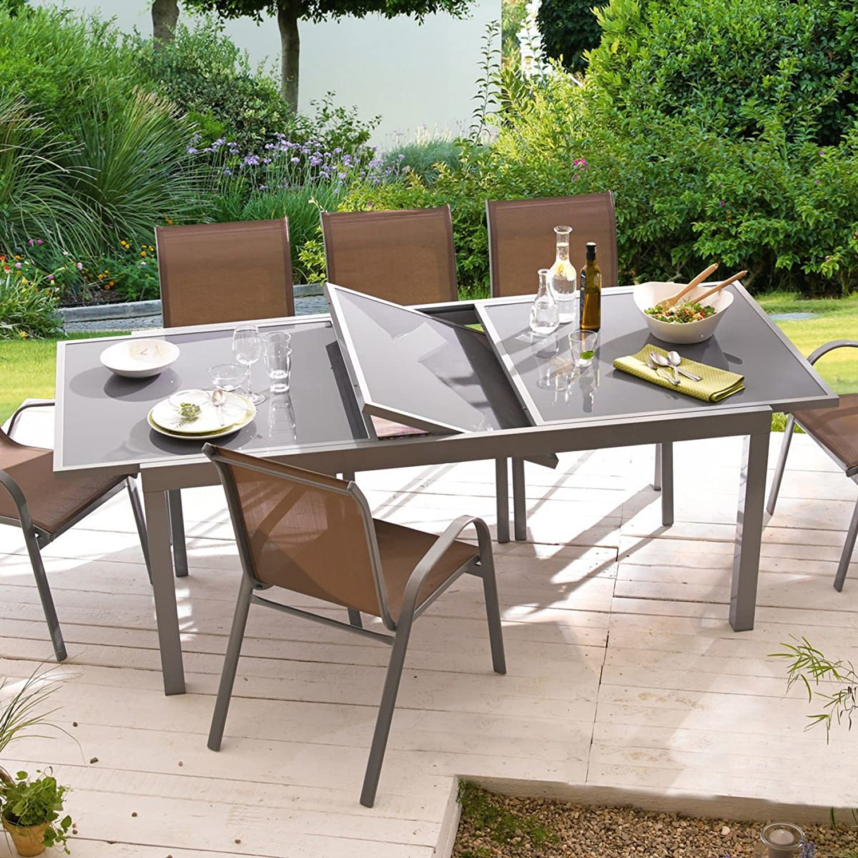 gartentisch ausziehbar aluminium glas grau l nge 180 bis 240 x breite 100 cm jetzt bestellen. Black Bedroom Furniture Sets. Home Design Ideas