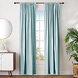 "AmazonBasics Room Darkening Blackout Window Curtains with Tie Backs Set, 42"" x 96"", Seafoam Green"