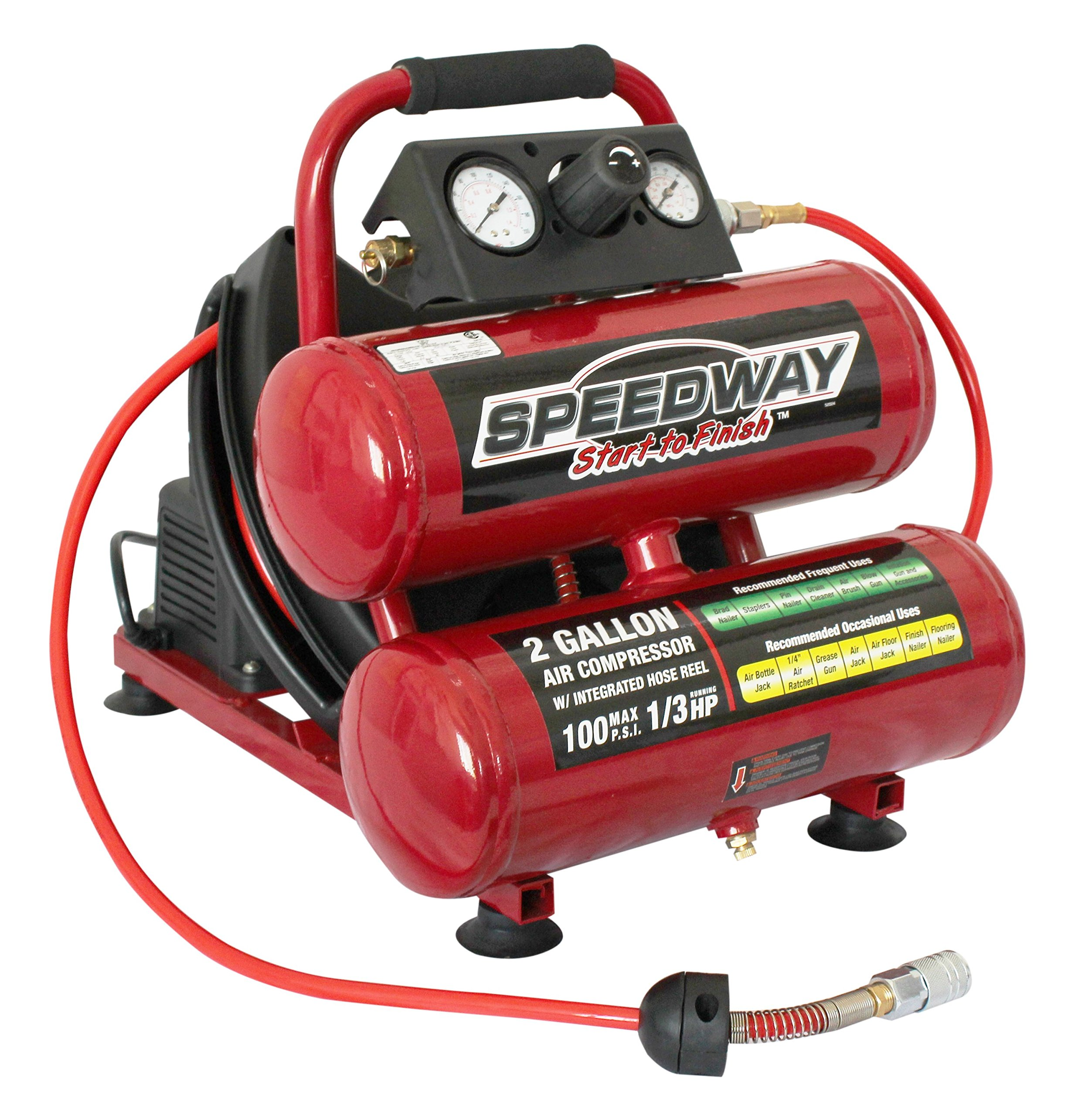 SPEEDWAY START TO FINISH: TWIN TANK 2 GALLON AIR COMPRESSOR WITH BUILT IN HOSE REEL by North American Tools