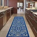 "Diagona Designs Contemporary Oriental Mahal Design Non-Slip Kitchen/Bathroom/Hallway Area Rug Runner, 20"" W x 59"" L, Navy/Ivory"