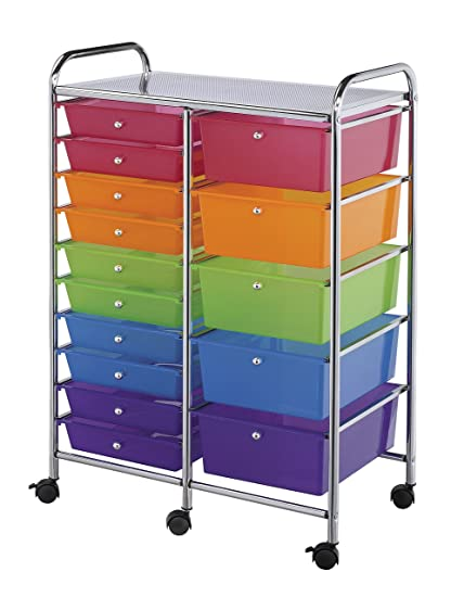 Merveilleux Blue Hills Studio SC15MCDW Storage Cart 15 Drawer (Standard And Deep) Multi