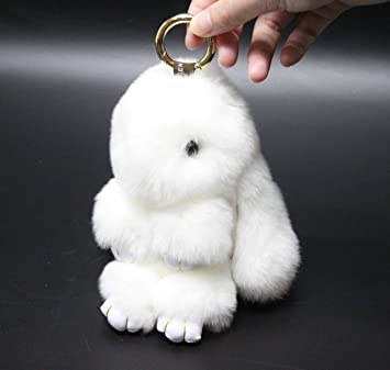 Real Mink Fur Rabbit Key Chain Soft Bunny Doll Bag Pendent Car Keyring