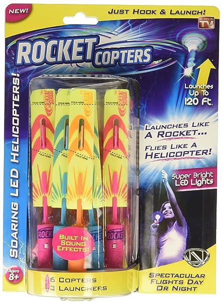amazon com rocket copters the amazing slingshot led helicopters