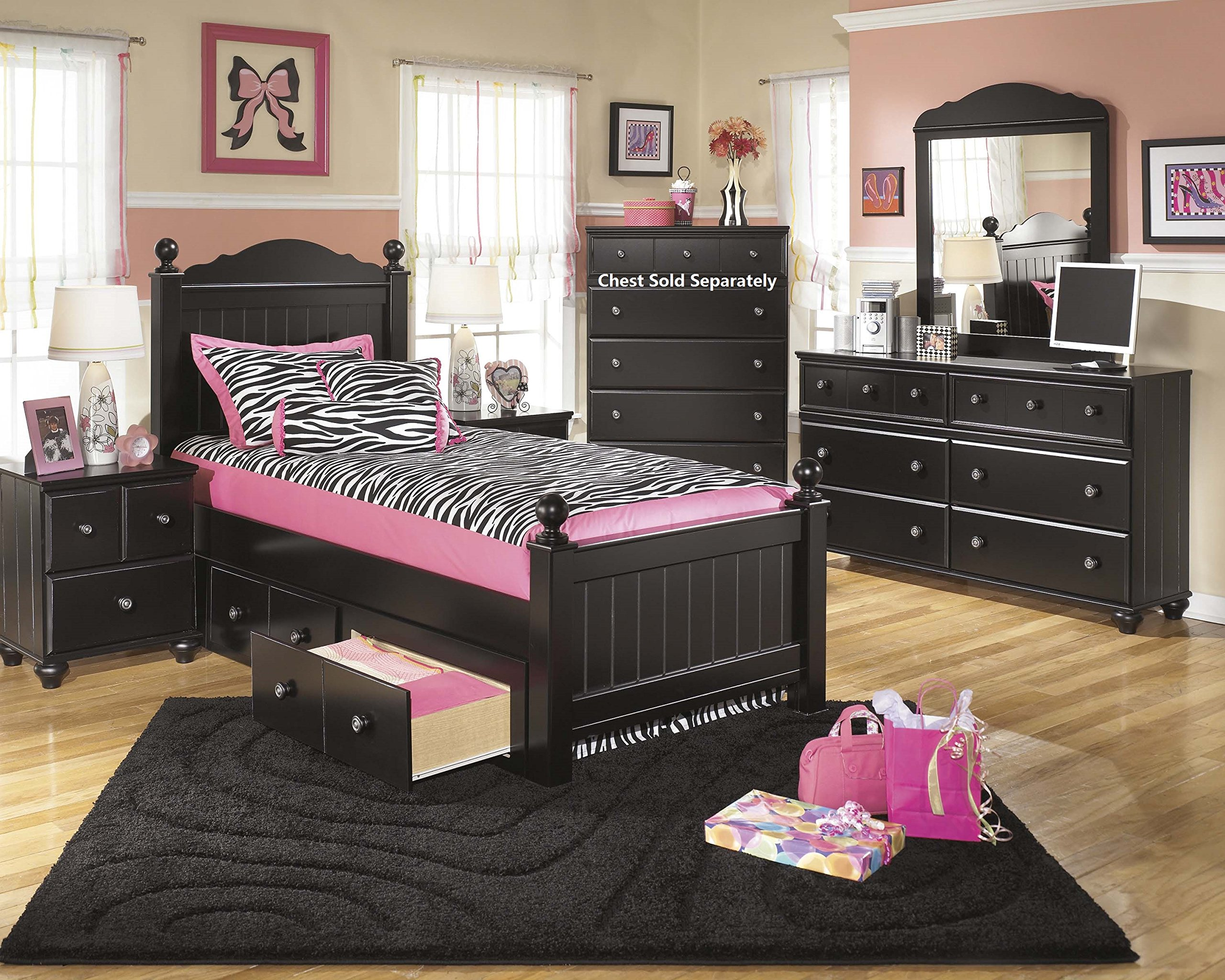 Jaidyn Youth Wood Poster Storage Bed Room Set in Rich Black Finish, Twin Bed, Dresser, Mirror, Nightstand