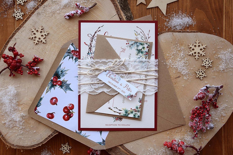 Amazon Com Romantic Custom Winter Wedding Invitations With