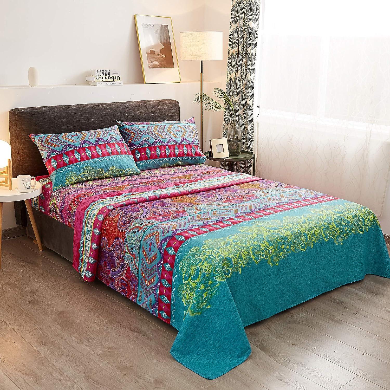 LAMEJOR Colorful Floral Bed Sheet