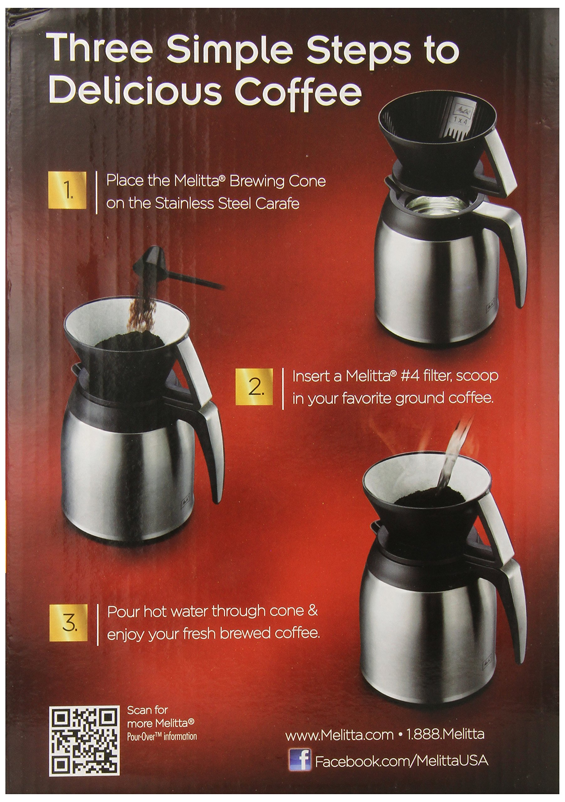 Melitta Coffee Maker, 10 Cup Pour- Over Brewer with Stainless Thermal Carafe by Melitta (Image #3)