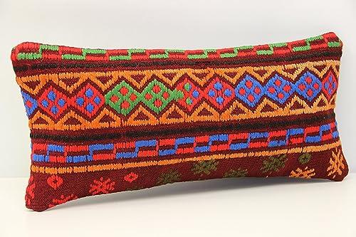 Kilim Pillow,Lumbar Pillow,Kilim Lumbar Pillow,Turkish Pillow,Cushion Cover,Kelim Kissen,12 x 20 Pillow Cover,Red Striped Pillow SP3050 2830