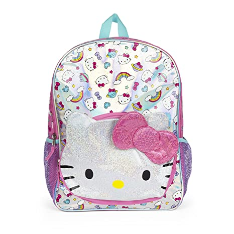 43c986dad6 Hello Kitty Rainbow Glitter Pink Bow Pocket Backpack for Girls