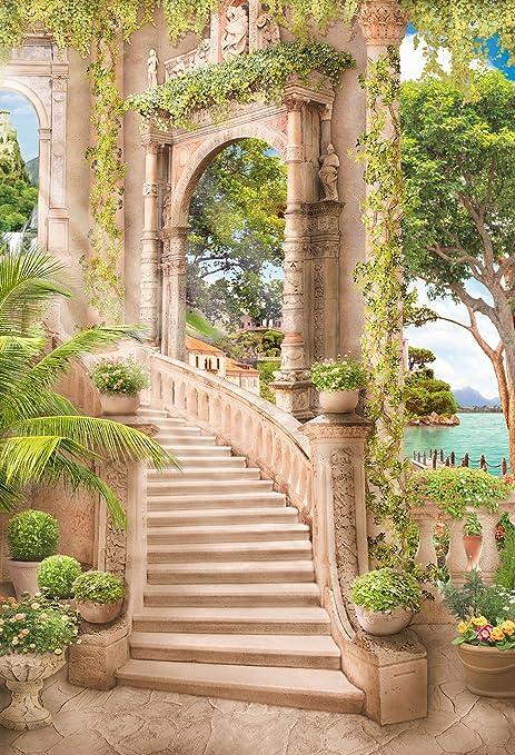 Kate 2 x 3 m romántico palacio escalera fondo para princesa jardín flor foto fondo boda decoración: Amazon.es: Electrónica