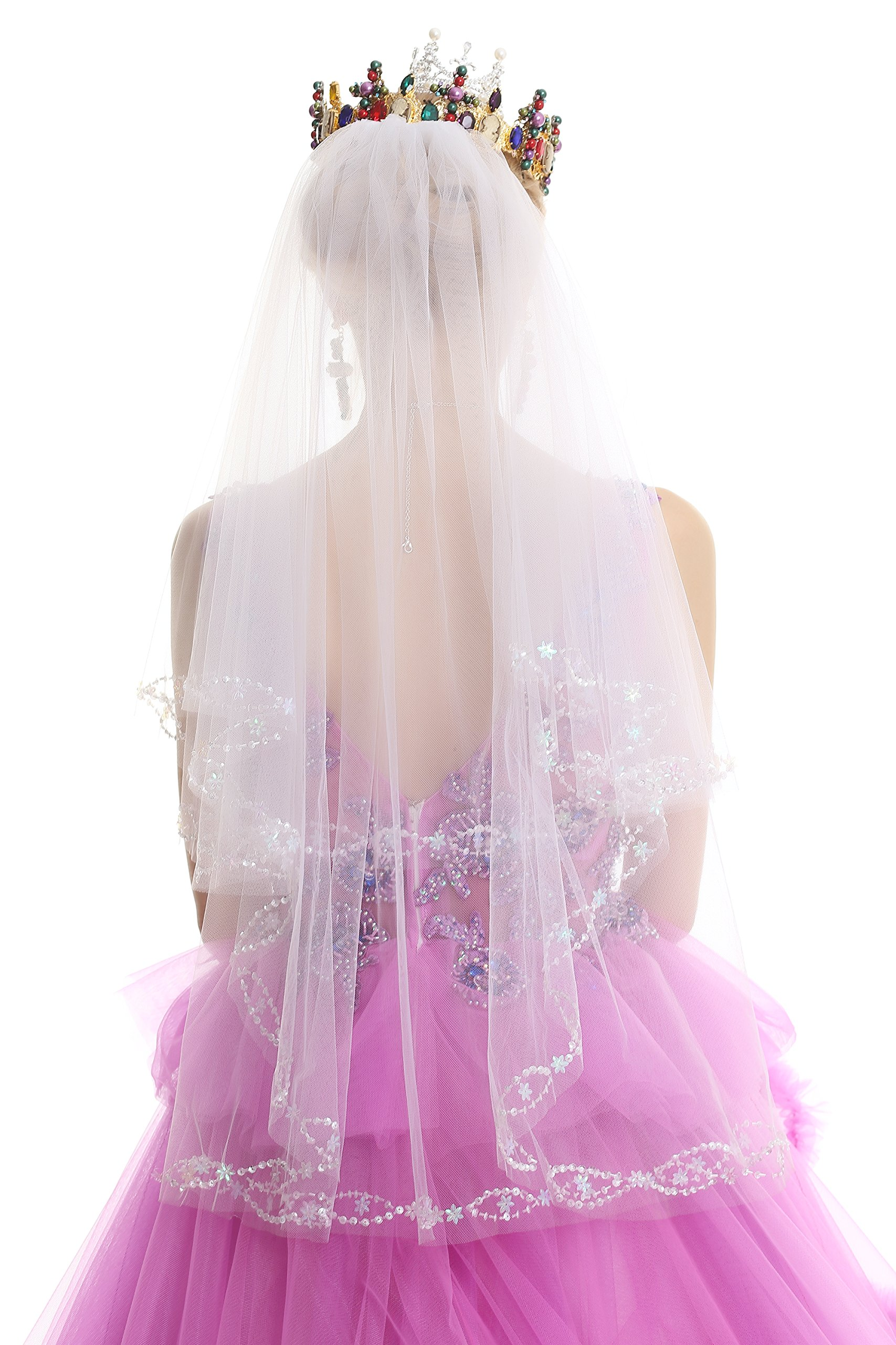 Pop-Fashion Women's 2T 2 Tie Veil Cathedral Wedding Rhinestone Veil 148 (White)