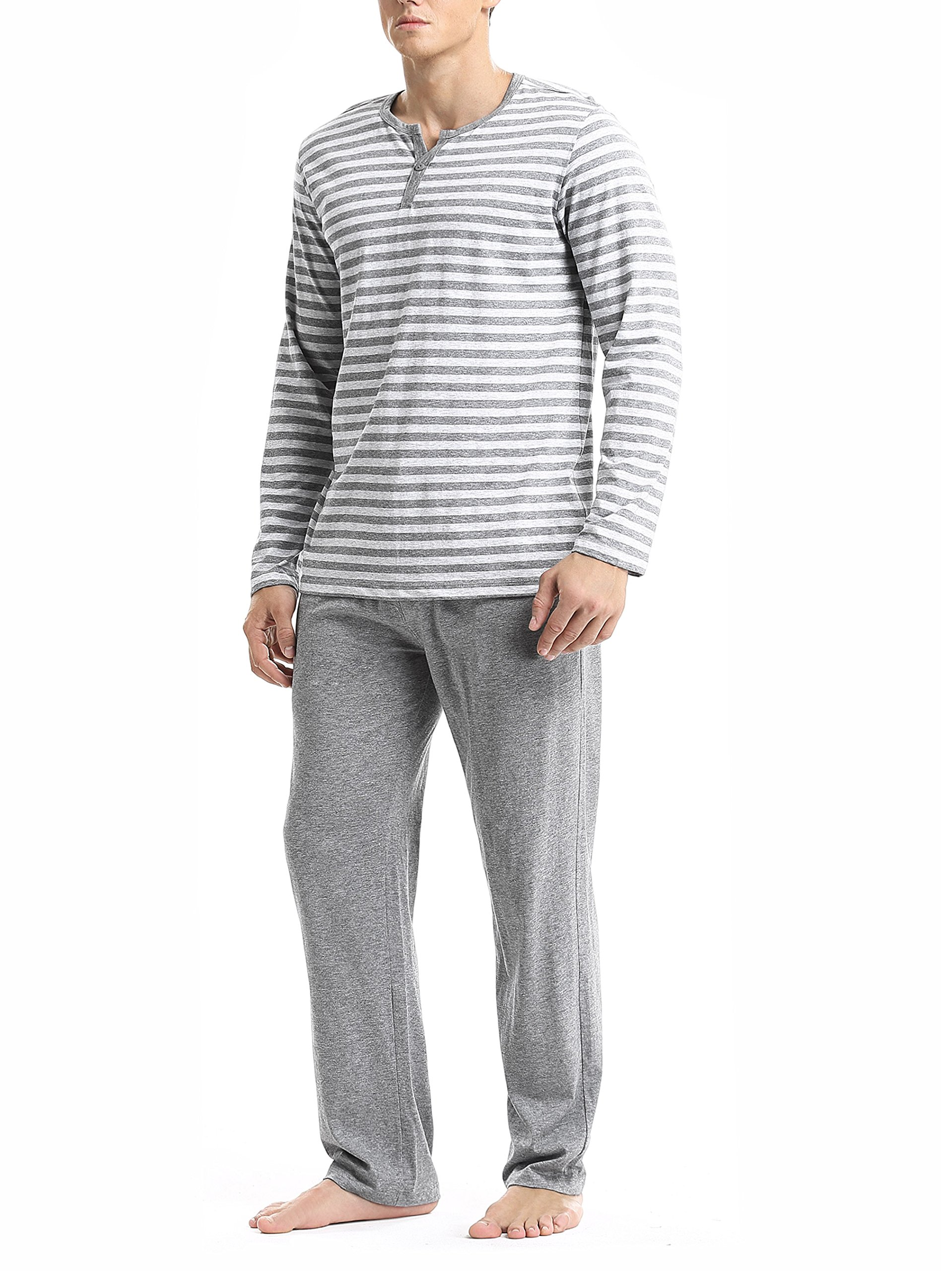 David Archy Men's Cotton Heather Striped Sleepwear Long Sleeve Top & Bottom Pajama Set (Heather Dark Gray, M)