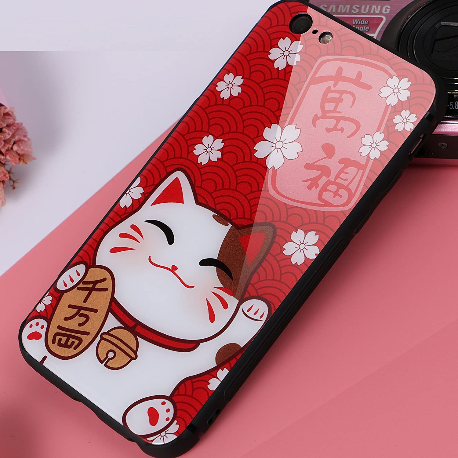 AiChose iPhone 7 Case iPhone 8 Case Fortune Cat for Your Phone Year Tempered Glass Back Cover with Soft TPU Bumper Frame Shock Absorption Strong Protection