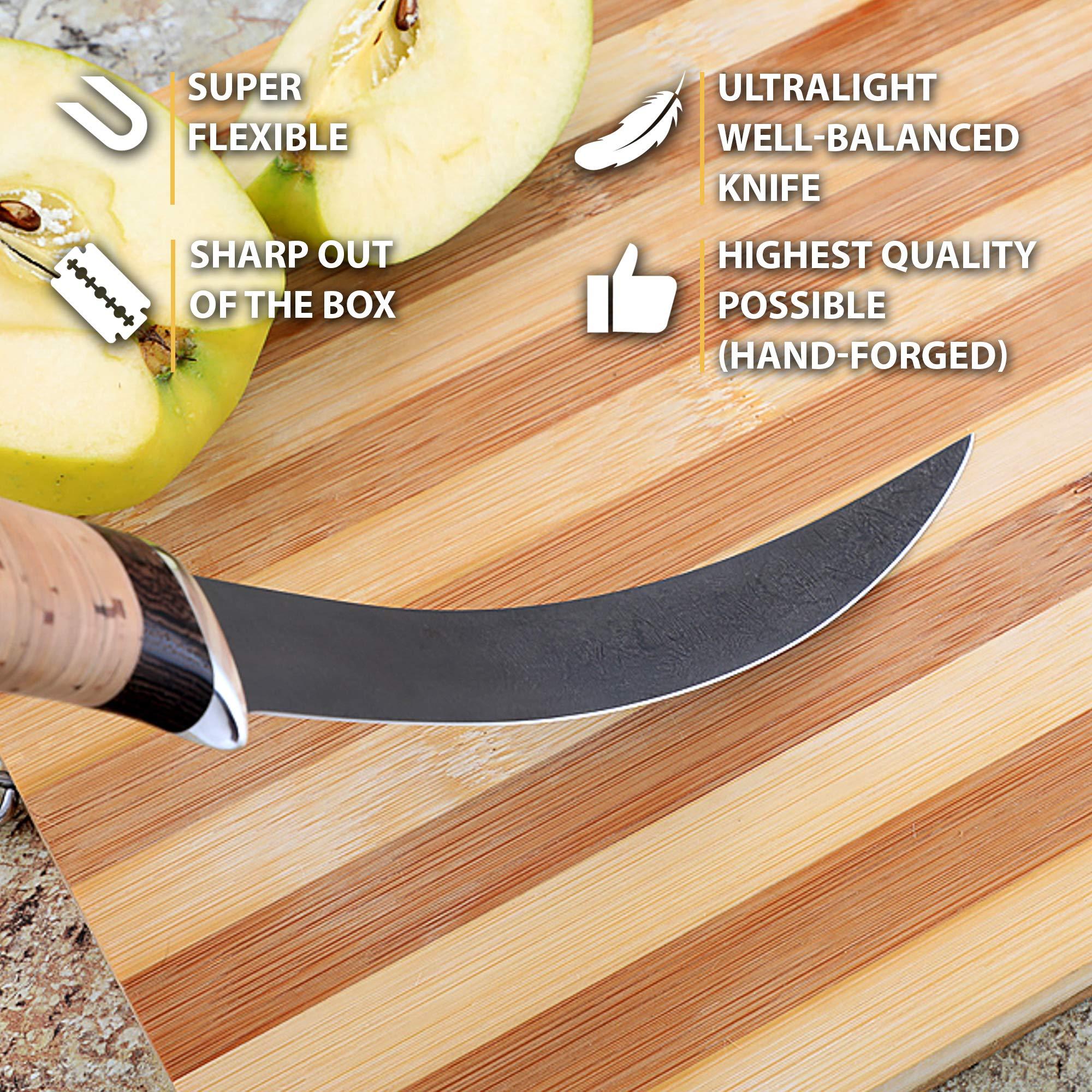 Fillet Knife - Fishing Knife - D2 Steel - Birchbark Handle - KASATKA - Leather Sheath by Nazarov Knives (Image #2)