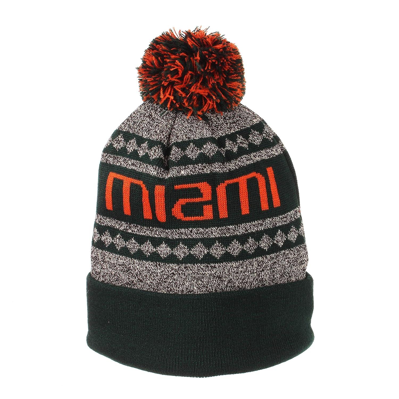 Amazon.com   Miami Hurricanes Official NCAA Mogul Cuffed Pom Knit Beanie  Sock Hat by Zephyr 828557   Sports   Outdoors adca92aafe11