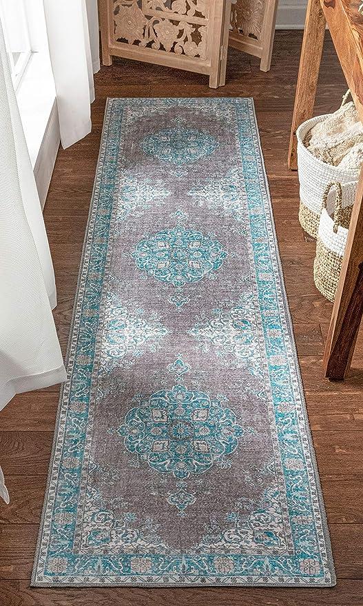 Amazon Com Well Woven Areva Machine Washable Teal Blue Vintage Oriental Medallion Flat Pile Runner Rug 2x7 2 1 X 7 3 Runner Home Kitchen