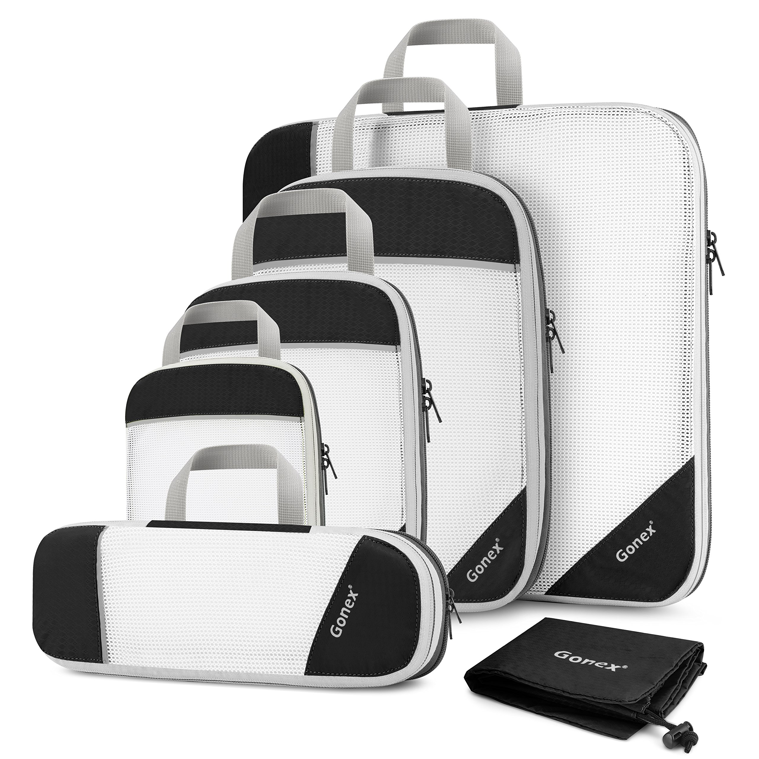 Gonex Compression Packing Cubes Mesh Organizers L+M+S+XS+Slim+Laundry Bag Black by Gonex