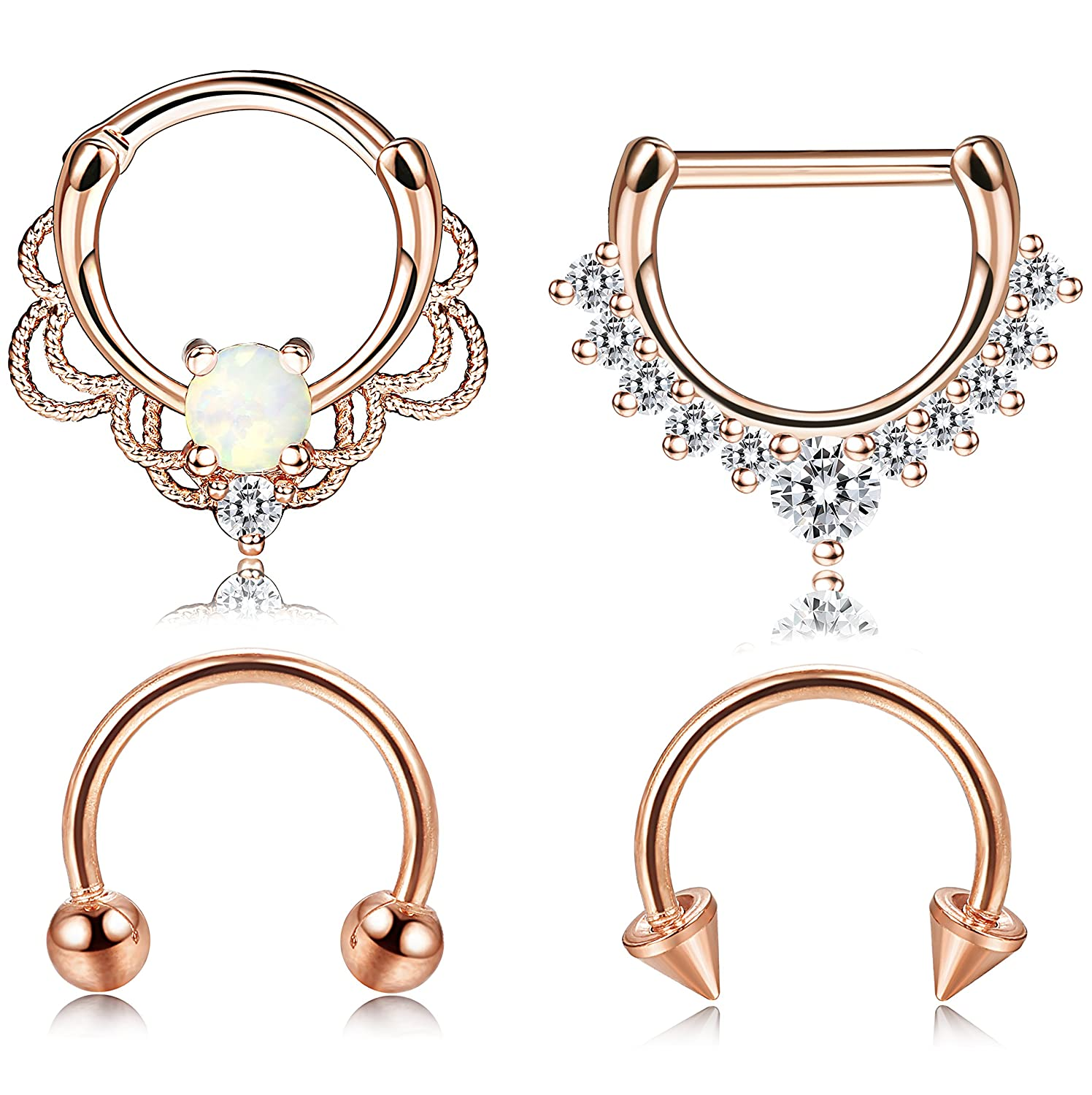 Jstyle 4 Pcs 316L Stainless Steel Septum Ring Nose Hoop Piercing 16G 8MM Silver Rose Gold Tone B078WN1FLB_US