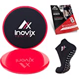 Inovix Two Sided Gliding Discs Bundle for Carpet and Hard Floors + Maximum Grip Anti-Slip Socks & Carrying Bag - The only gear you need for any full body workout