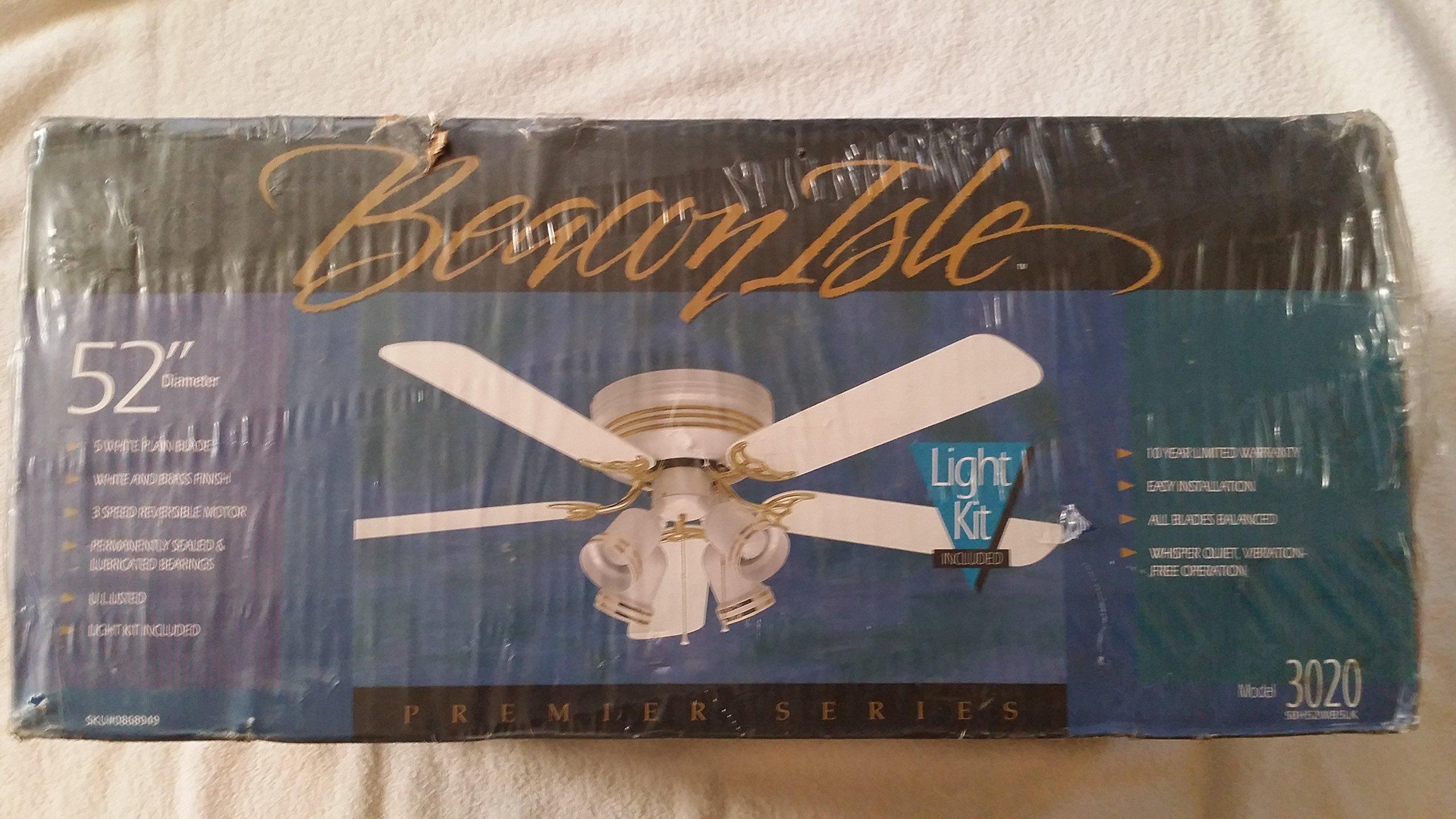 52'' Diameter ''Premier Series'' White Ceiling Fan w/Lighting Kit (Model 3020) by Beacon Isle