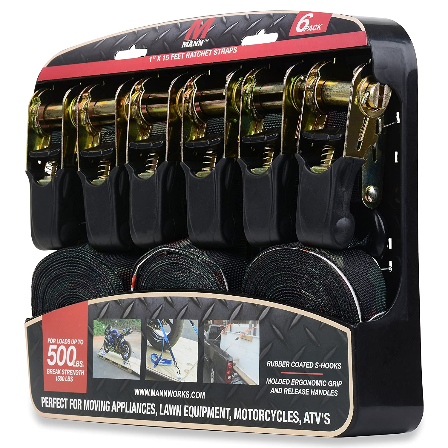 Mann Ratchet Tie Downs Straps 6-Pack with S-hooks 1-Inch x 15-Feet 500 Lbs Load Cap Camo 1500 Lb Break Strength