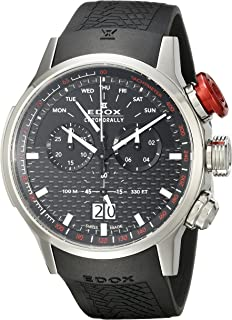5b4c7dd58 Edox Men's 38001 TIN NIN Chronorally Analog Display Swiss Quartz Black Watch