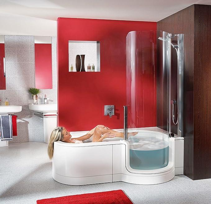 Artweger Twin Line 1 bañera con puerta derecha y ducha 180 cm ducha Perfil Plata Mate Delantal acrílico blanco: Amazon.es: Bricolaje y herramientas