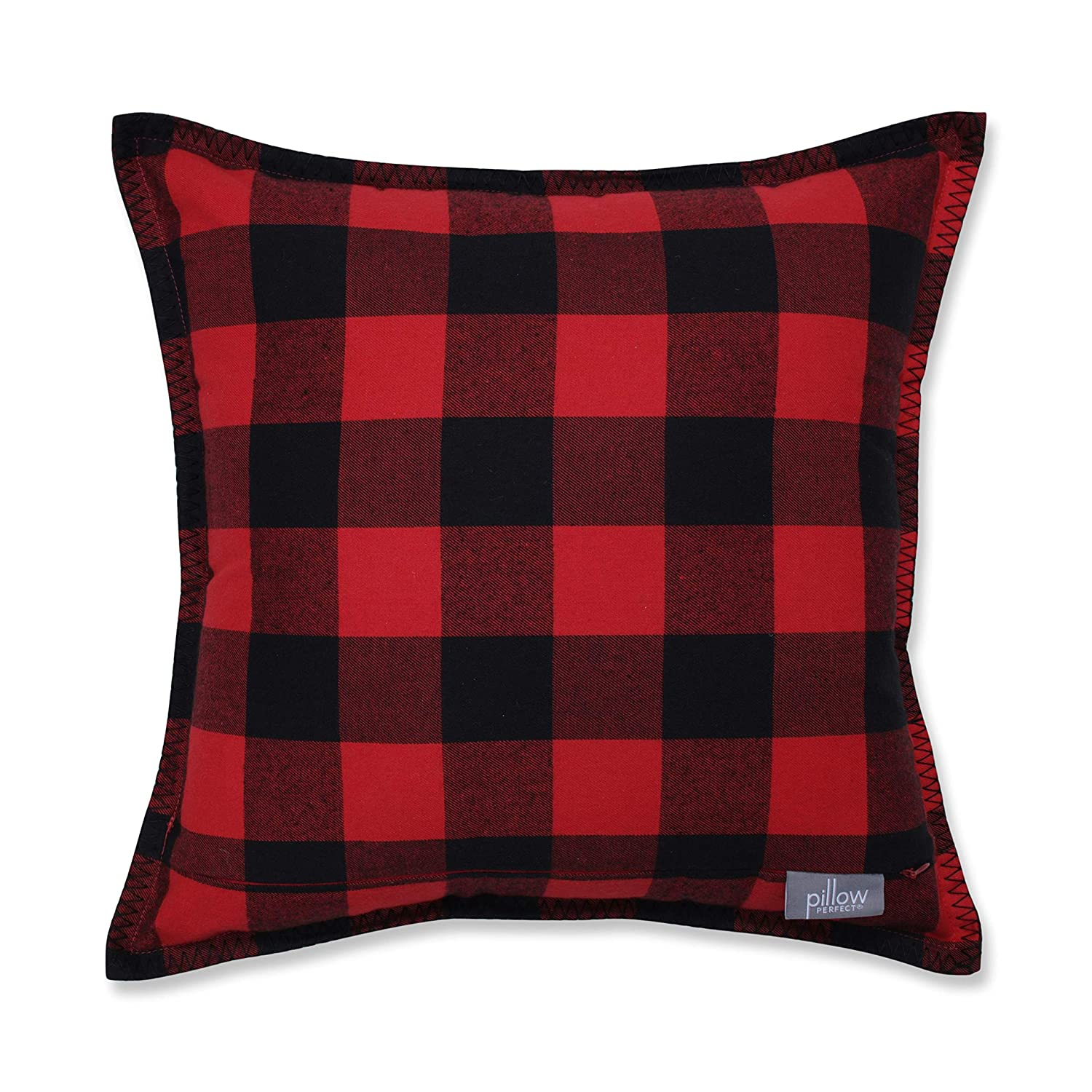 Off White Black Pillow Perfect Buffalo Plaid Appliqued Initial A with Blanket Stitch Edge Decorative Pillow 17 Red