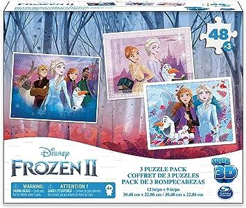 Disney Spin Master- 6052967- Frozen II Super 3D, Pack de 3 rompecabezas, a partir de 4 años, 48 x 3 piezas: Amazon.es: Juguetes y juegos