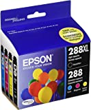 Epson Cartridge Ink, 288XL Black 288 Cyan, Magenta, Yellow Jaune, 4-Pack
