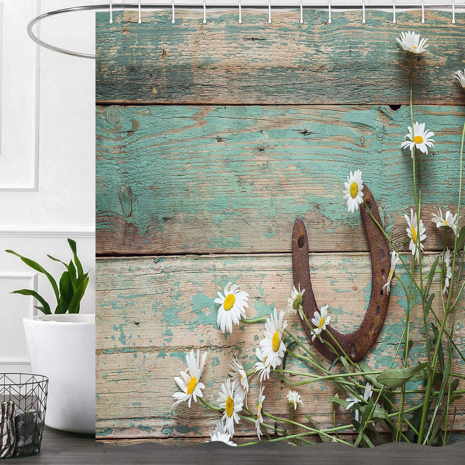 Western Rustic Shower Curtains for Bathroom, Country Horse Shoes Daisy Cowboys Fabric Shower Curtain Set, Horseshoe Barnwood Bathroom Accessories Decor, Hooks Included 72X72 Inches