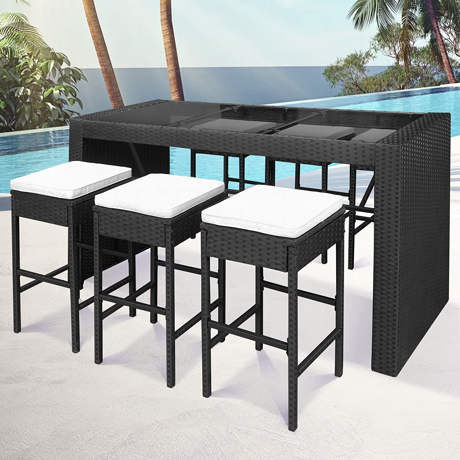 miadomodo polyrattan bar sitzgarnitur sitzgruppe. Black Bedroom Furniture Sets. Home Design Ideas