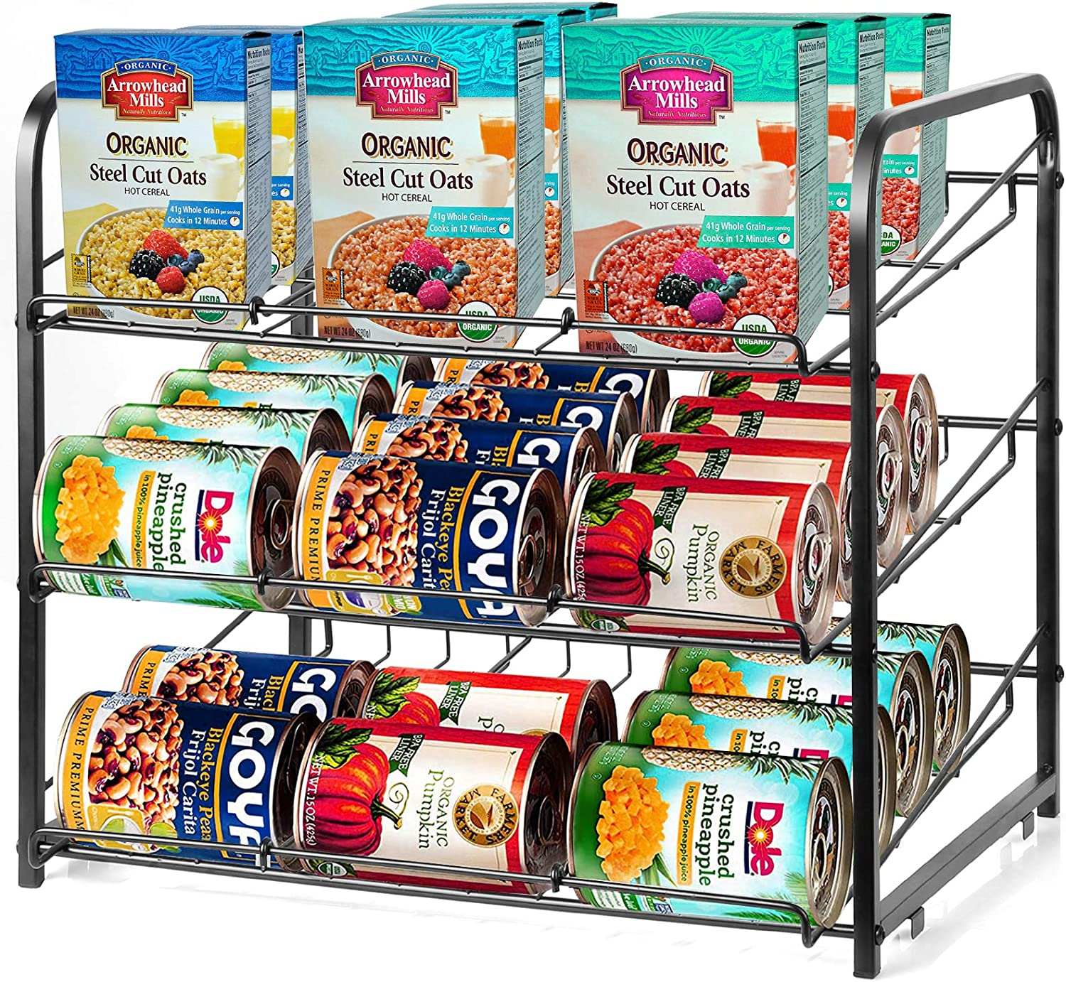 CRZDEAL Stackable Can Rack Organizer Canned Beverage Drink Pets Food Storage Dispenser Holds up to 36 Cans Great for the Kitchen Cabinet Pantry Closet (Black Finish)