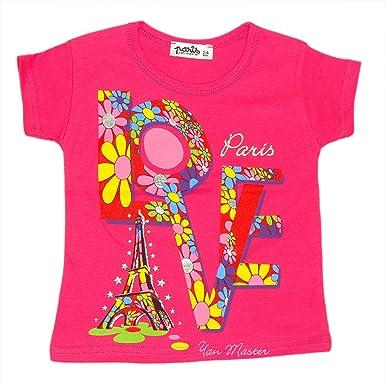 T-Shirt Fille  I Love Paris  - Rose (2-4 ans)  Amazon.fr  Vêtements et  accessoires 0512dbe65bed