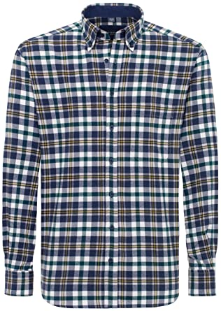 eterna Herrenhemd Langarm Comfort Fit Blau Grün Gelb kariert Freizeithemd  Flanellhemd Baumwolle Hemd Warme Hemden XXL 89cbbdc85f