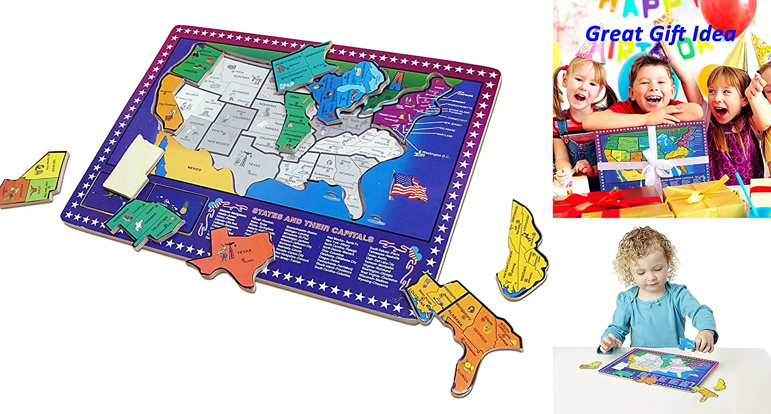 dazzling toys USA Map Puzzle | 50 States and Capitals Educational ...