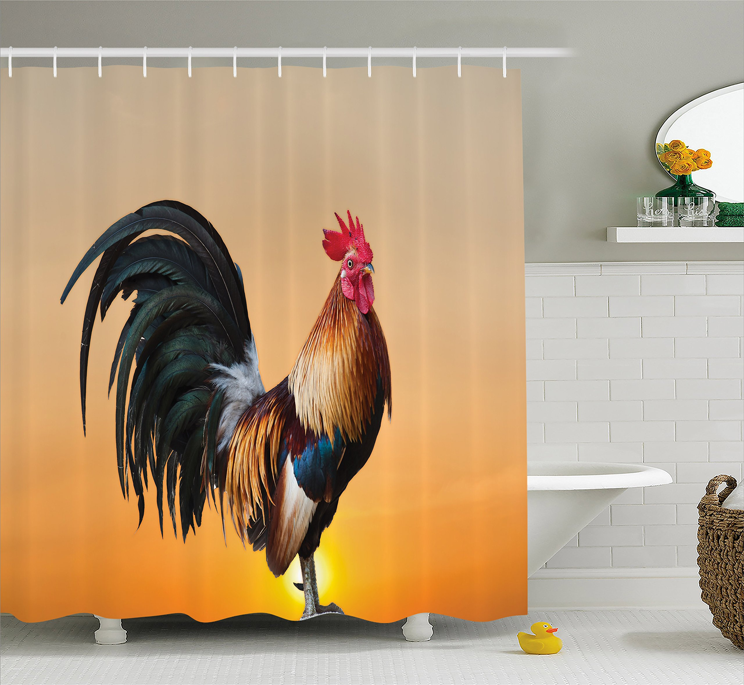 Ambesonne Rooster Shower Curtain, Animal Cockerel on Sunrise Farmhouse Harvest Season Rural Pastoral Nature Scenery, Cloth Fabric Bathroom Decor Set with Hooks, 70 inches, Multicolor
