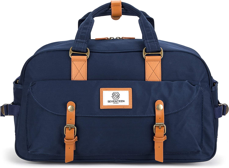 SEVENTEEN LONDON – Marylebone Classic Unisex Weekender Duffel Travel Luggage Bag Navy