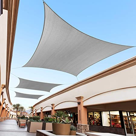 Amazon Com Royal Shade 12 X 12 Grey Square Sun Shade Sail Canopy Outdoor Patio Fabric Shelter Cloth Screen Awning 95 Uv Protection 200 Gsm Heavy Duty 5 Years Warranty We