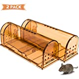 CaptSure Humane Rodent Trap, Live Catch and Release, No Kill, No Pain, Kids & Pet Safe, Easy To Set, For Indoor/Outdoor, Reusable Cage Box, For Small Rat/Mouse/Mole/Hamster Catcher That Works 2 Pack